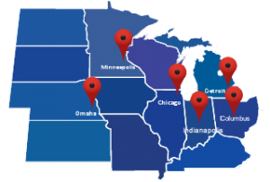 map of Calhoun trucking midwest locations